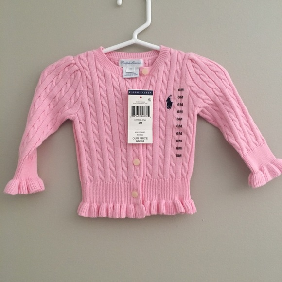2019 authentic san francisco release info on Baby girl Ralph Lauren Pink cardigan sweater NWT